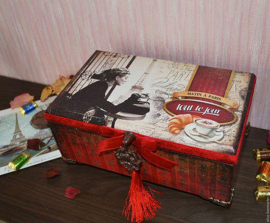 """Персональные подарки ручной работы. Ярмарка Мастеров - ручная работа. Купить """"Завтрак в Париже"""" короб. Handmade. Ярко-красный, Париж"""