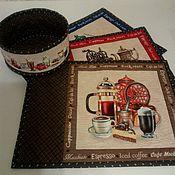 """Для дома и интерьера ручной работы. Ярмарка Мастеров - ручная работа Текстильный набор для кухни  """"Кофемания"""". Handmade."""
