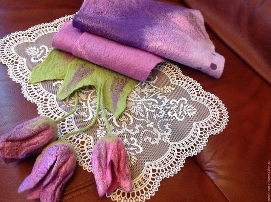 Шарфы и шарфики ручной работы. Ярмарка Мастеров - ручная работа. Купить Валяный бактус ПРОВАНС, шерстяной шарфик с тюльпанами. Handmade.