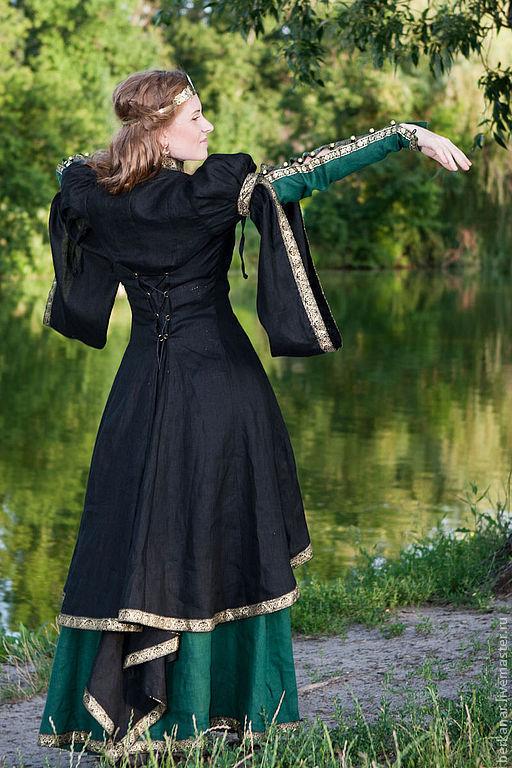 """Пиджаки, жакеты ручной работы. Ярмарка Мастеров - ручная работа. Купить Средневековый кафтан """"Лесная принцесса"""". Handmade. Черный, кафтан"""