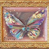 Картины и панно ручной работы. Ярмарка Мастеров - ручная работа Картина трехслойная на шелке Драгоценные Бабочки-1. Handmade.
