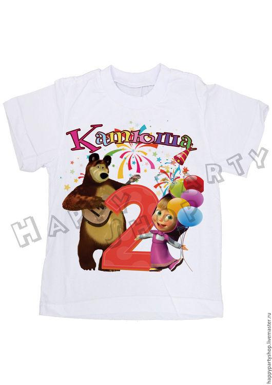Одежда для девочек, ручной работы. Ярмарка Мастеров - ручная работа. Купить Детская футболка на 2 года Маша и медведь. Handmade.