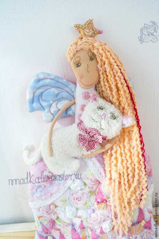 Коллекционные куклы ручной работы. Ярмарка Мастеров - ручная работа. Купить Розовая Принцесса, Белая Кошка. Handmade. Бледно-розовый
