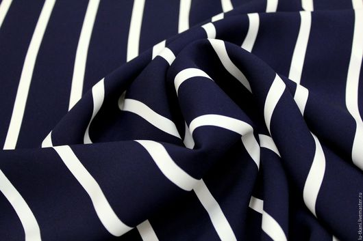 Шитье ручной работы. Ярмарка Мастеров - ручная работа. Купить Итальянская креповая плательно-костюмная ткань,  бело - синяя полоска. Handmade.
