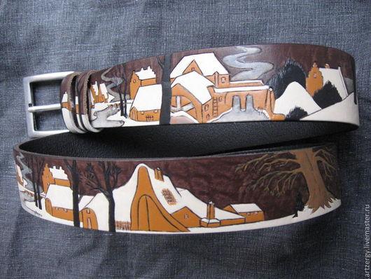 """Пояса, ремни ручной работы. Ярмарка Мастеров - ручная работа. Купить ремень кожаный """"Зимний пейзаж"""". Handmade. Зима, пояс"""