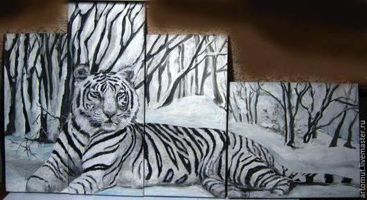 """Животные ручной работы. Ярмарка Мастеров - ручная работа. Купить Модульная картина """"Белый тигр"""". Handmade. Модульная картина, зима"""