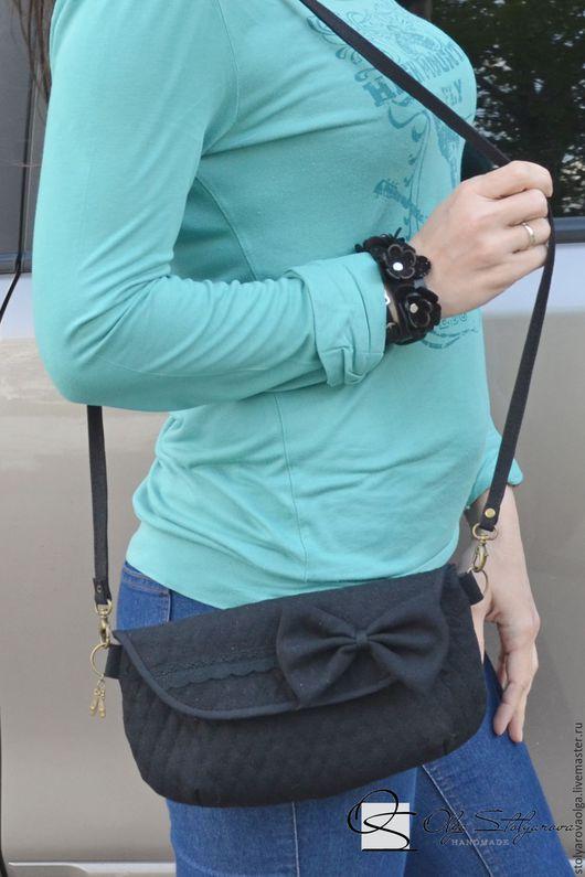 Женские сумки ручной работы. Ярмарка Мастеров - ручная работа. Купить маленькая черная стеганая сумочка с бантиком. Handmade. Черный