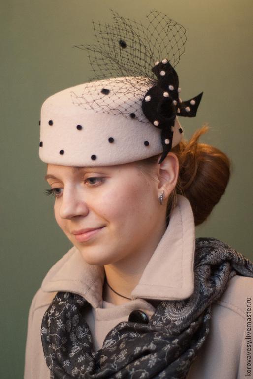 """Шляпы ручной работы. Ярмарка Мастеров - ручная работа. Купить Шляпка-таблетка из фетра """"Эвелина"""". Handmade. Белый, женская шляпка"""