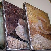 Картины и панно ручной работы. Ярмарка Мастеров - ручная работа Панно парное деревянное Чай-Кофе W0392. Handmade.