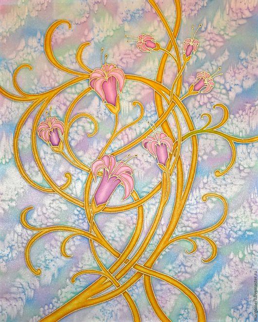 Картины цветов ручной работы. Ярмарка Мастеров - ручная работа. Купить Нежность 2. Handmade. Комбинированный, Батик, атлас, цветы