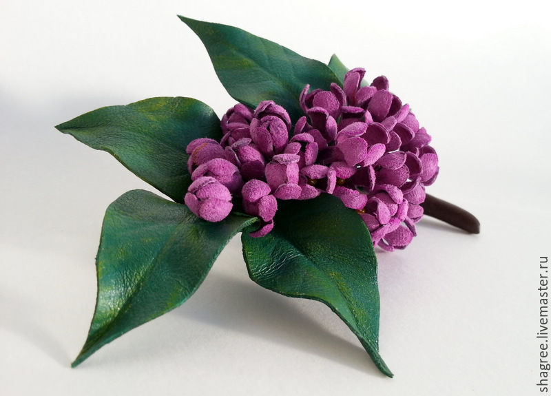 Brooch leather Sprig of lilac, Brooches, Moscow, Фото №1