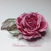 """Украшения ручной работы. Ярмарка Мастеров - ручная работа цветок из натурального шелка """"Маленькая розовая розочка"""". Handmade."""