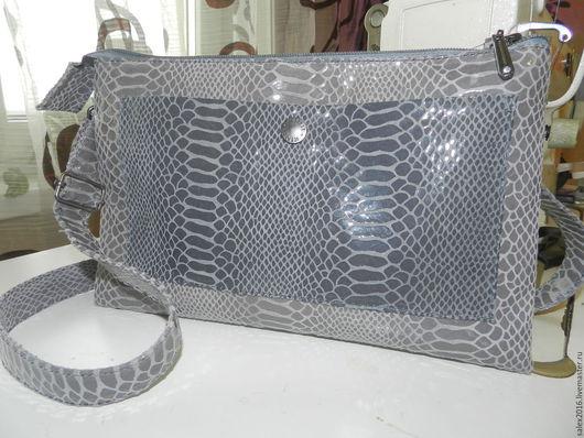 Женские сумки ручной работы. Ярмарка Мастеров - ручная работа. Купить клатч - серая рептилия. Handmade. Серый, Подкладочная ткань