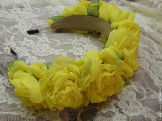 """Диадемы, обручи ручной работы. Ярмарка Мастеров - ручная работа. Купить Ободок с цветами """"Желтые розы"""". Handmade. Желтый"""