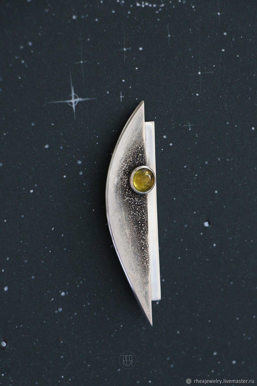 Серебряная авторская брошь из серебра с желтым турмалином. Супрематизм, Брошь-булавка, Москва,  Фото №1