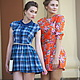 Синее платье в клеточку `Подружка`