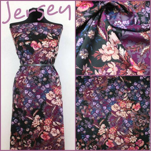 Плотное, эластичное джерси, приятное на ощупь, подойдет для платья, юбки или брюк. Ткань насыщенного цвета, рисунок яркий. Цена 680р.