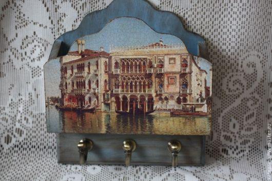 """Прихожая ручной работы. Ярмарка Мастеров - ручная работа. Купить Ключница """"Старая Венеция"""". Handmade. Голубой, подарок на новоселье"""