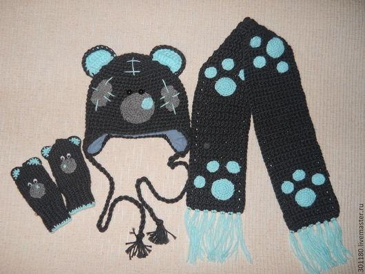 """Шапки и шарфы ручной работы. Ярмарка Мастеров - ручная работа. Купить Комплект """"Медвежонок Тедди"""" шапочка с шарфиком и руавичками. Handmade."""