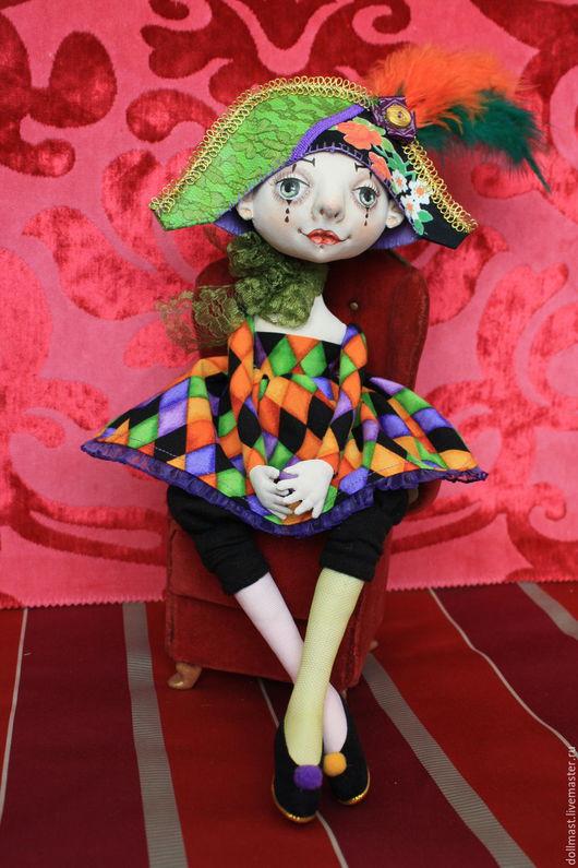 Коллекционные куклы ручной работы. Ярмарка Мастеров - ручная работа. Купить Коломбина. Handmade. Комбинированный, душа, Замша натуральная