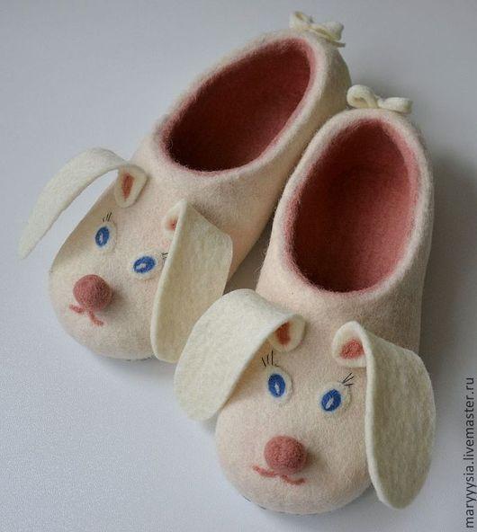 """Обувь ручной работы. Ярмарка Мастеров - ручная работа. Купить тапочки """" ушастики"""". Handmade. Домашние тапочки, новозеландский кардочёс"""