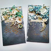 Открытки ручной работы. Ярмарка Мастеров - ручная работа Открытки поздравительные, открытка с золотом. Handmade.