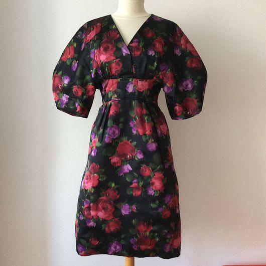 Одежда. Ярмарка Мастеров - ручная работа. Купить Винтажное платье с розами,  1950'е годы. Handmade. Винтаж, икат