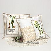 """""""Ботаника"""" Белый лен. Красивый подарок. Текстиль. Диванная подушка"""