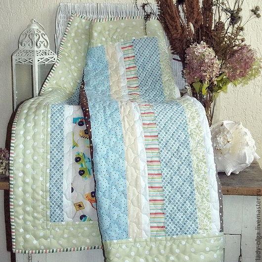 Лоскутное одеяло покрывало плед Утро в Провансе, голубой цвет (Morning In Provence). Лоскутное шитье (пэчворк). Фото. Авторская работа мастера Lady Olga