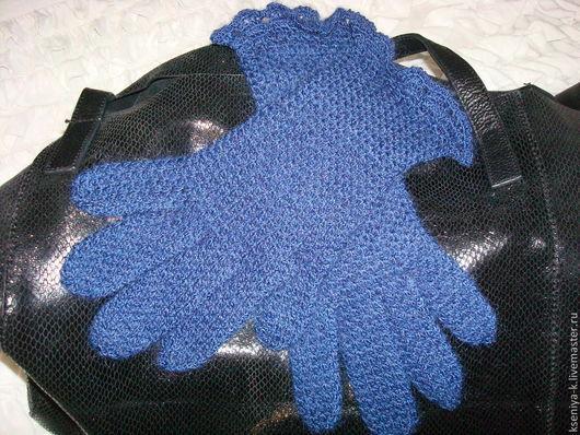 Варежки, митенки, перчатки ручной работы. Ярмарка Мастеров - ручная работа. Купить Перчатки. Handmade. Тёмно-синий, перчатки крючком