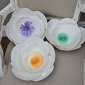 """Свадебный салон ручной работы. Ярмарка Мастеров - ручная работа Цветы белые-""""стандартные""""с цветной серединкой. Handmade."""