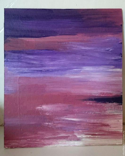 Абстракция ручной работы. Ярмарка Мастеров - ручная работа. Купить море на закате. Handmade. Комбинированный, акрил, абстрактная картина, интерьер