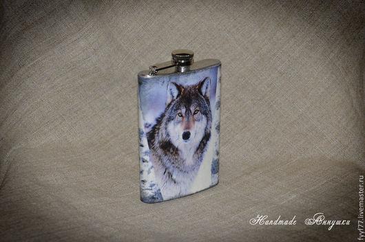"""Подарки для мужчин, ручной работы. Ярмарка Мастеров - ручная работа. Купить Фляжка стальная """"Волчище"""". Handmade. Фляжка, волк"""