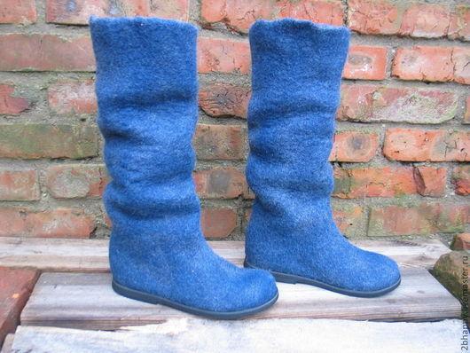 Обувь ручной работы. Ярмарка Мастеров - ручная работа. Купить Валяные сапожки MUST HAVE denim. Handmade. Синий