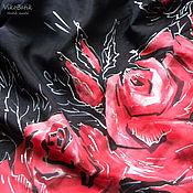 """Аксессуары ручной работы. Ярмарка Мастеров - ручная работа Платок """"Roses"""" Красный,Черный. Ручная роспись.Натуральный шелк.. Handmade."""