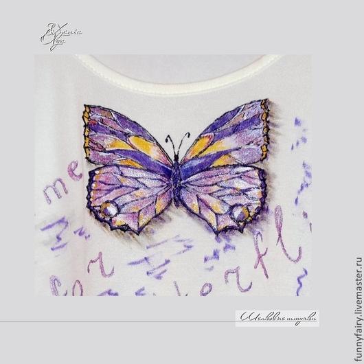 """Футболки, майки ручной работы. Ярмарка Мастеров - ручная работа. Купить Женская футболка с рисунком """"Бабочка"""" ручная роспись белая 44 размер,S. Handmade."""
