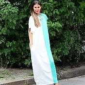 Одежда ручной работы. Ярмарка Мастеров - ручная работа Бело-бирюзовое длинное макси платье, кафтан, абайя, ручная работа. Handmade.