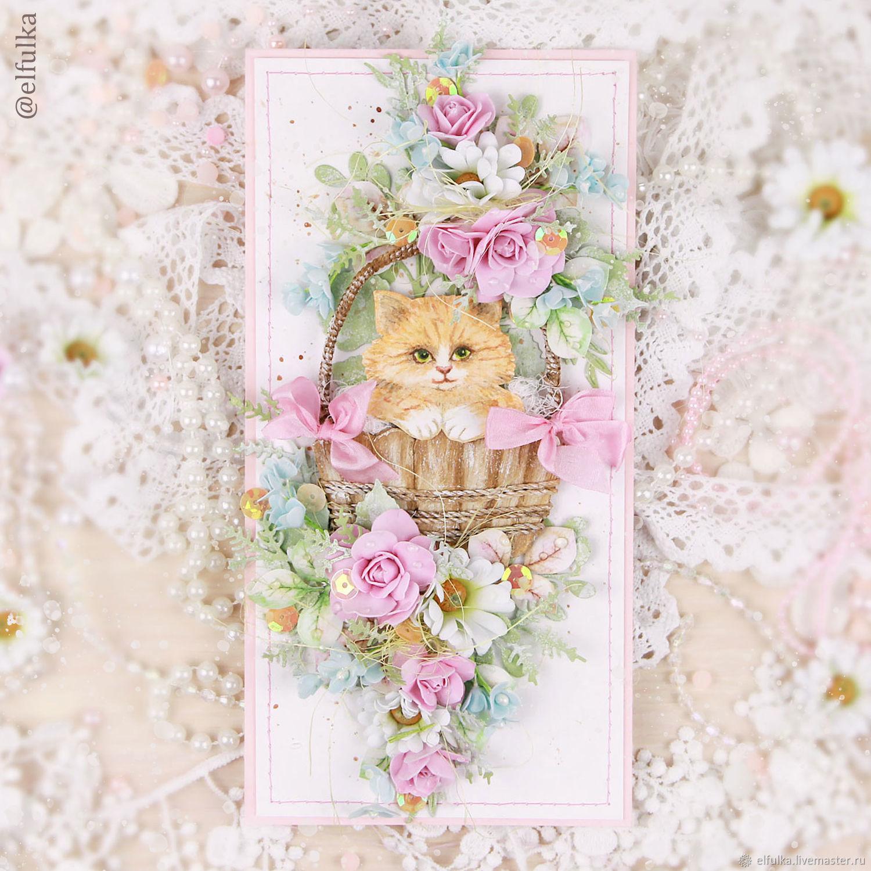 Открытка с котиком (открытка ручной работы, открытка с цветами), Открытки, Нарьян-Мар,  Фото №1