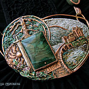"""Украшения ручной работы. Ярмарка Мастеров - ручная работа """"Eilean Donnain"""" колье медь, вышивка. Handmade."""