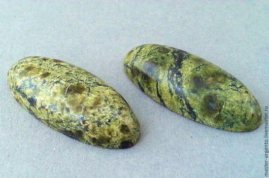 Для украшений ручной работы. Ярмарка Мастеров - ручная работа. Купить комплект кабошонов из змеевика, овал 26х11х5. Handmade. Зеленый