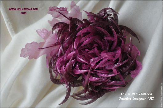 Цветы ручной работы. Ярмарка Мастеров - ручная работа. Купить Хризантема из натурального шифона. Handmade. Комбинированный, шифон натуральный, хризантема