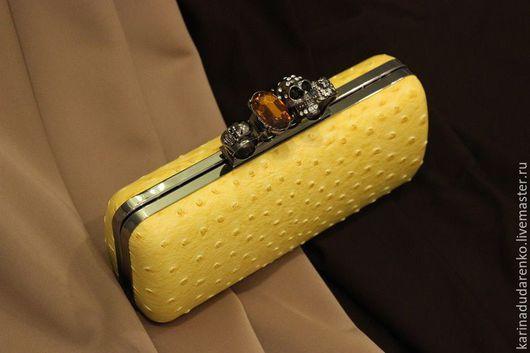 Женские сумки ручной работы. Ярмарка Мастеров - ручная работа. Купить Клатч желтый с черепами. Handmade. Желтый, вискоза италия