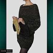 """Одежда handmade. Livemaster - original item Черное платье вязаное с люрексом """"Золотое сияние"""". Handmade."""
