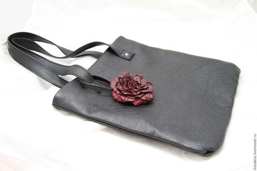 Женские сумки ручной работы. Ярмарка Мастеров - ручная работа. Купить Сумка черная с бордовой розой арт. 329. Handmade.