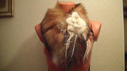 Шарфы и шарфики ручной работы. Ярмарка Мастеров - ручная работа. Купить Воротничек из хвостиков лисы с меховым цветком. Handmade. Рыжий
