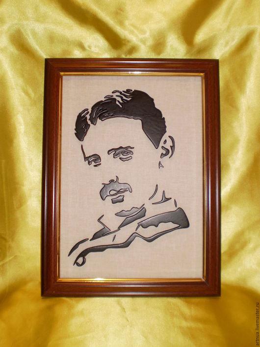 """Люди, ручной работы. Ярмарка Мастеров - ручная работа. Купить Панно из дерева """"Тесла"""". Handmade. Черный, портрет на заказ"""