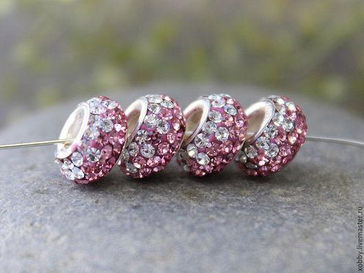 Бусина в стиле Pandora из серебра 925 пробы с яркими стразами австрийского хрусталя двух оттенков розового для сборки украшений