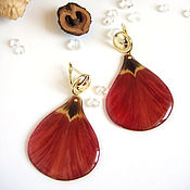 Украшения handmade. Livemaster - original item Earrings with Real Red Tulip Petals Korean Accessories 3. Handmade.