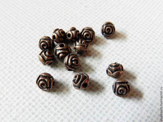 Бусина металлическая спейсер ЦВЕТОК (разделитель бусин), размер 5 мм, отверстие 1 мм, цвет МЕДЬ (арт. 1232)