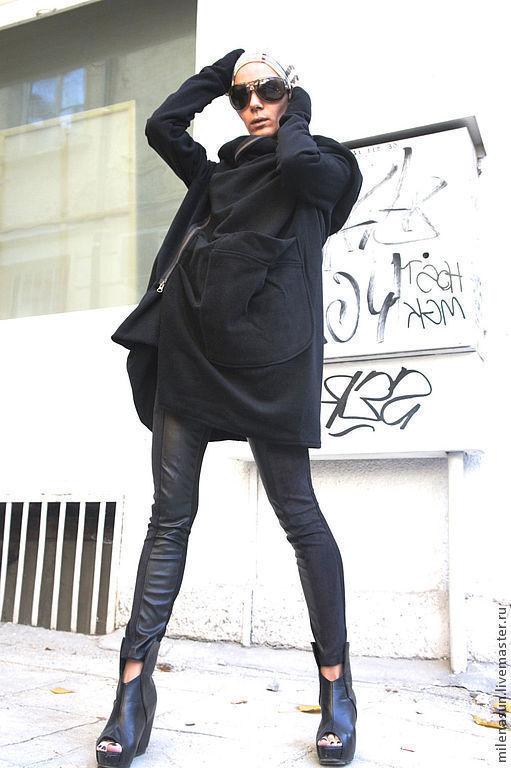 Верхняя одежда ручной работы. Ярмарка Мастеров - ручная работа. Купить Кашемировое пальто  Assymetric ( с прямой спинкой). Handmade.